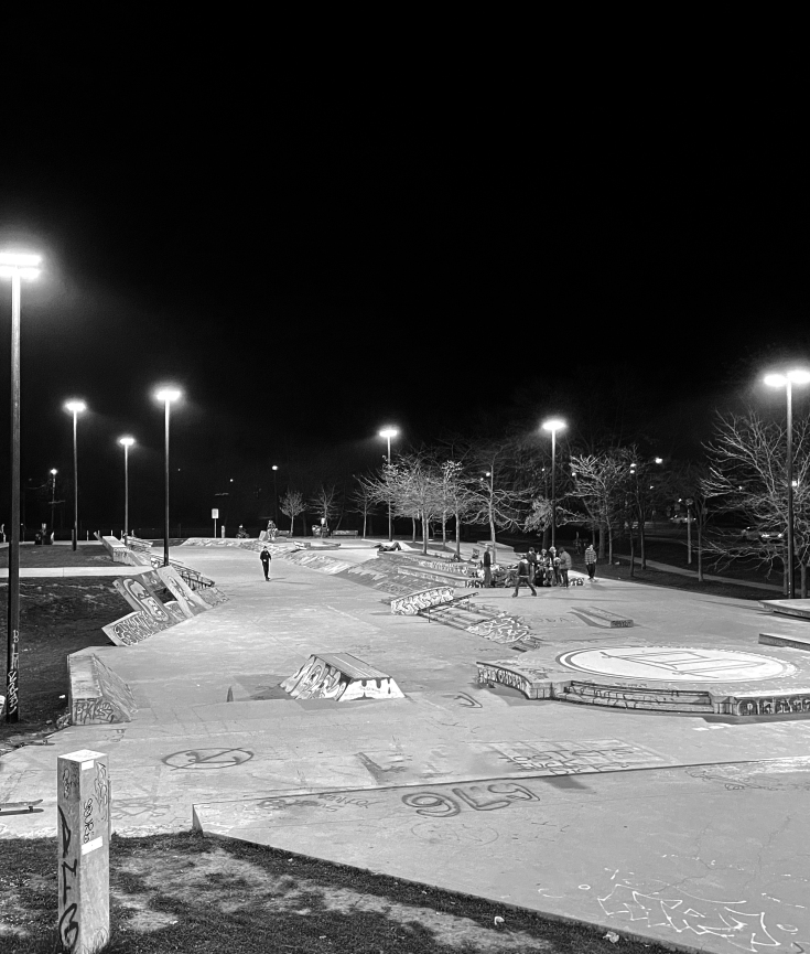 Toronto Beaches skatepark at night