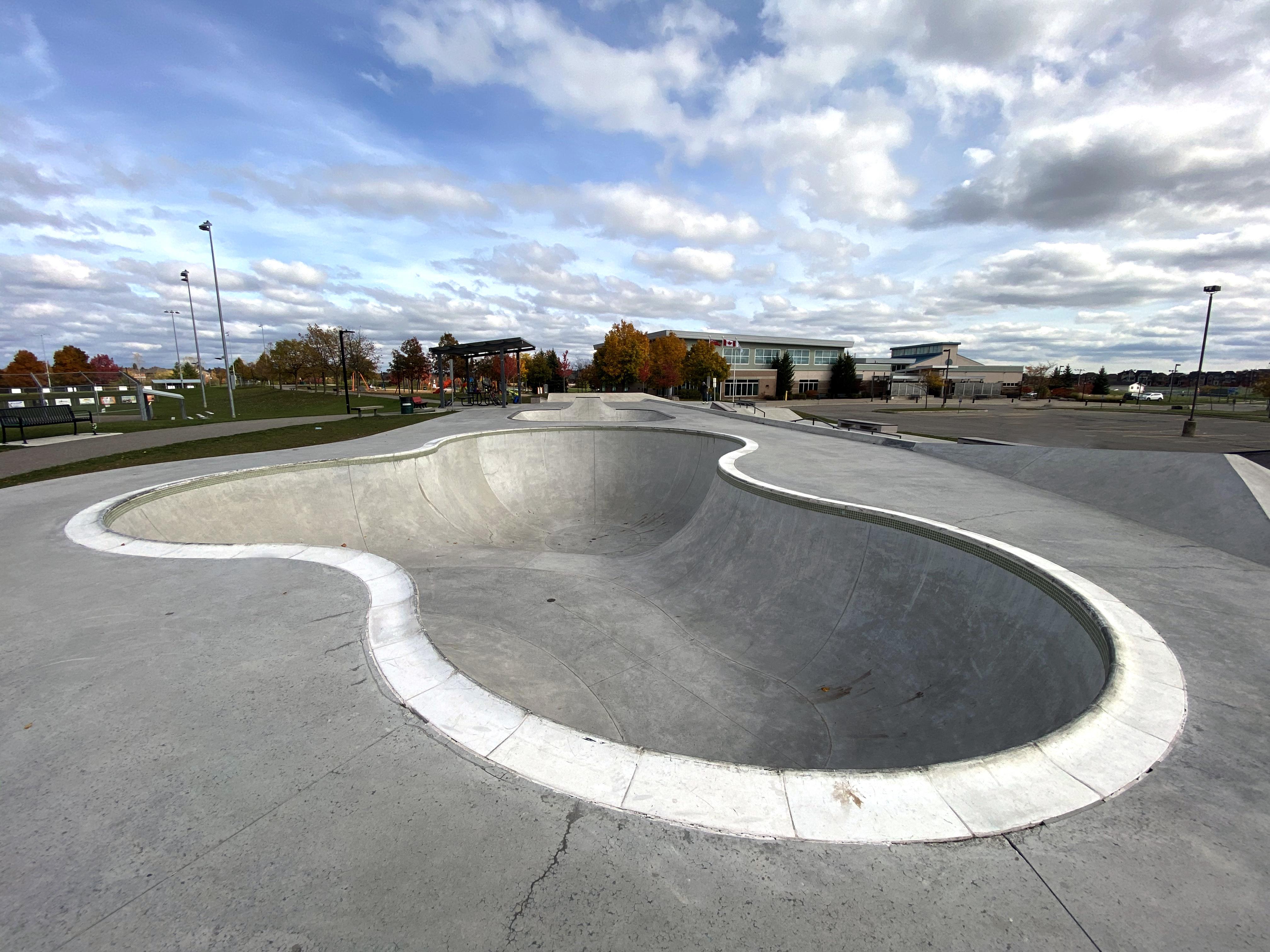 Georgetown skatepark kidney bowl with pool coping