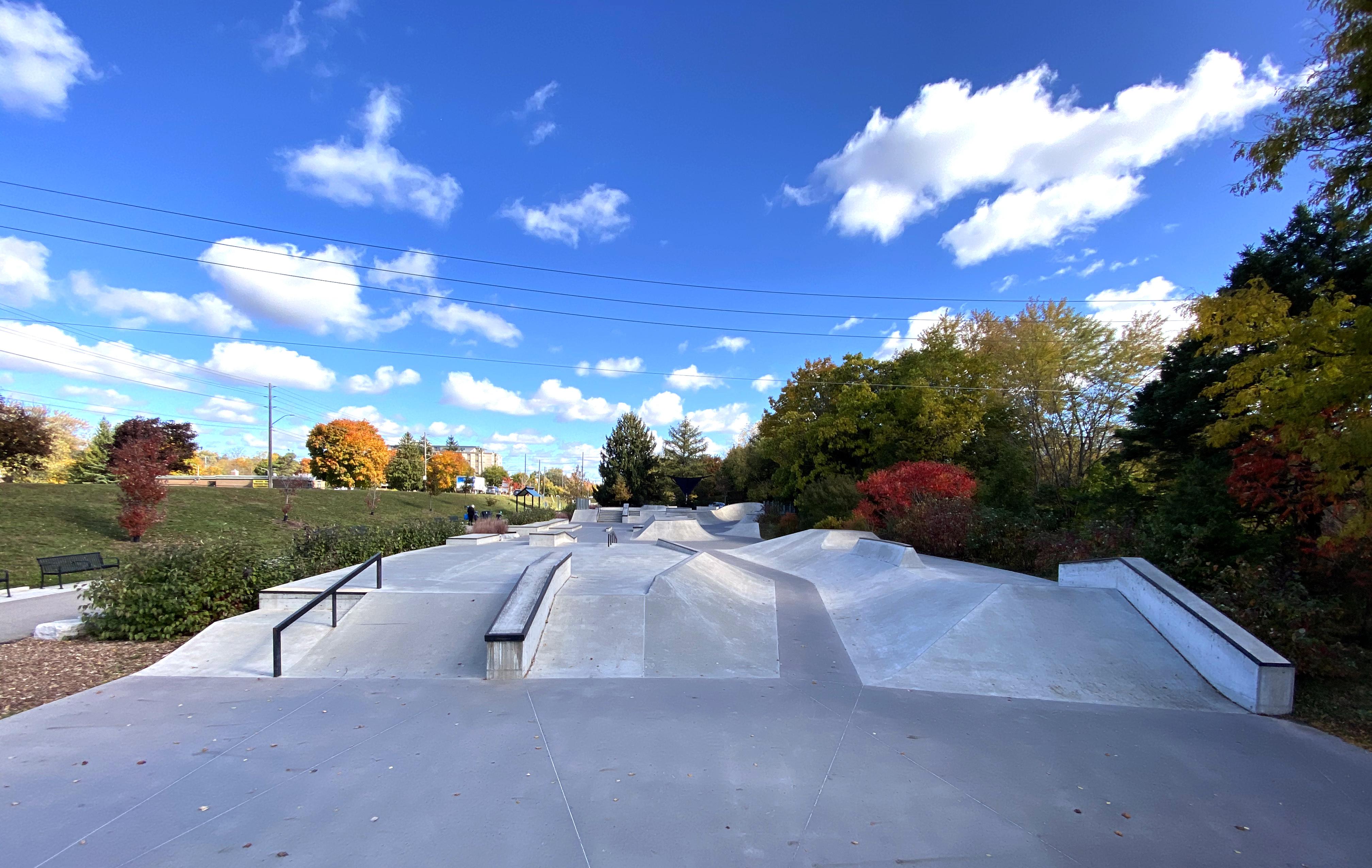 Guelph Skatepark at the back