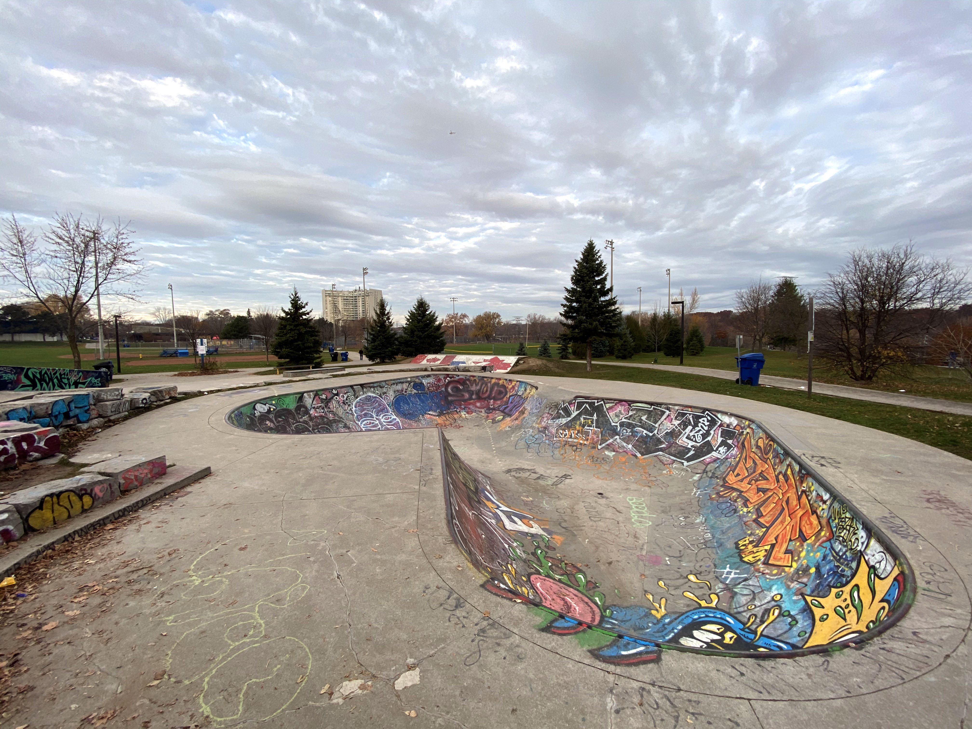 East York Skatepark in Toronto, view from the bowl