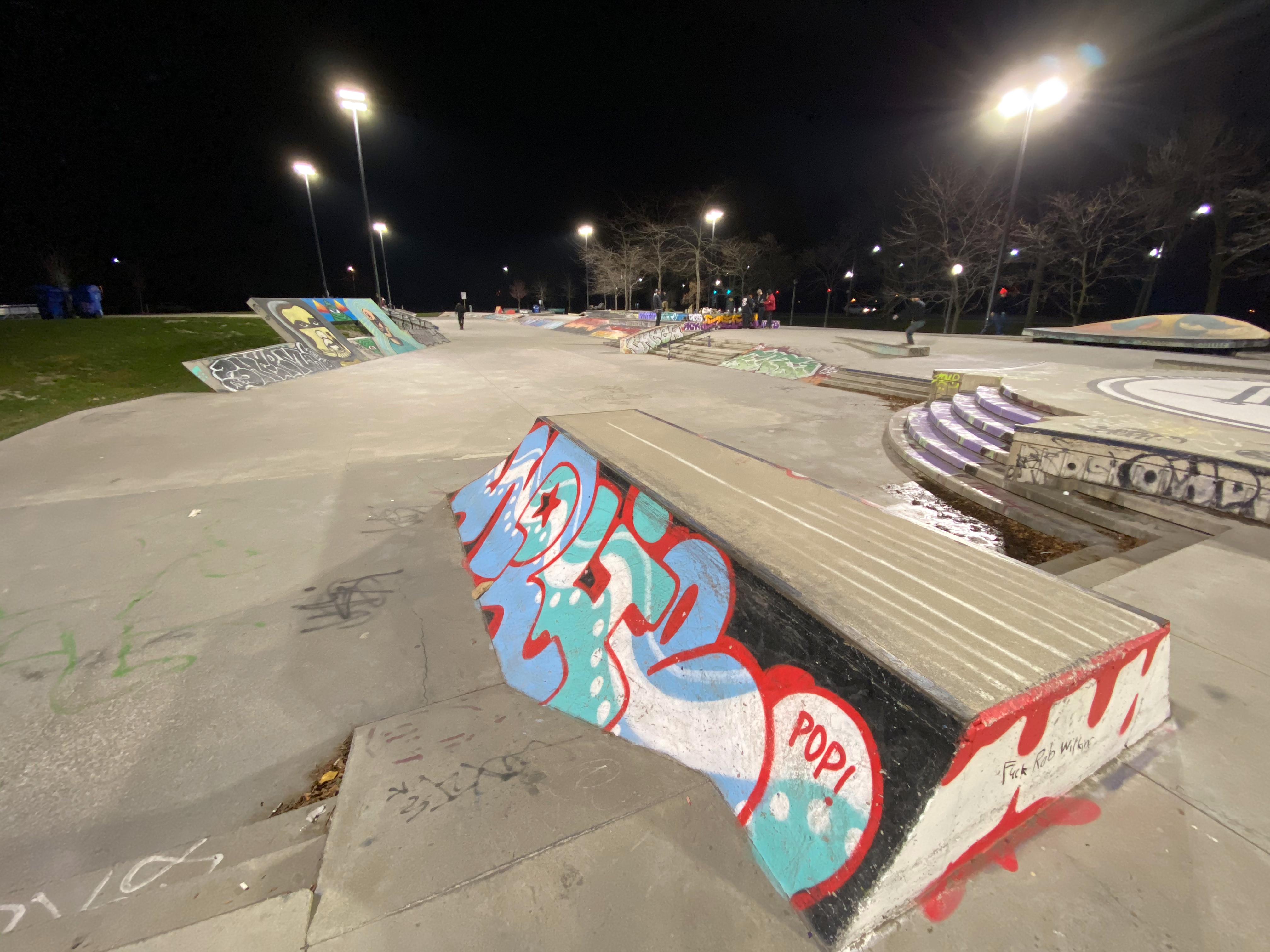 Toronto Beaches skatepark at night