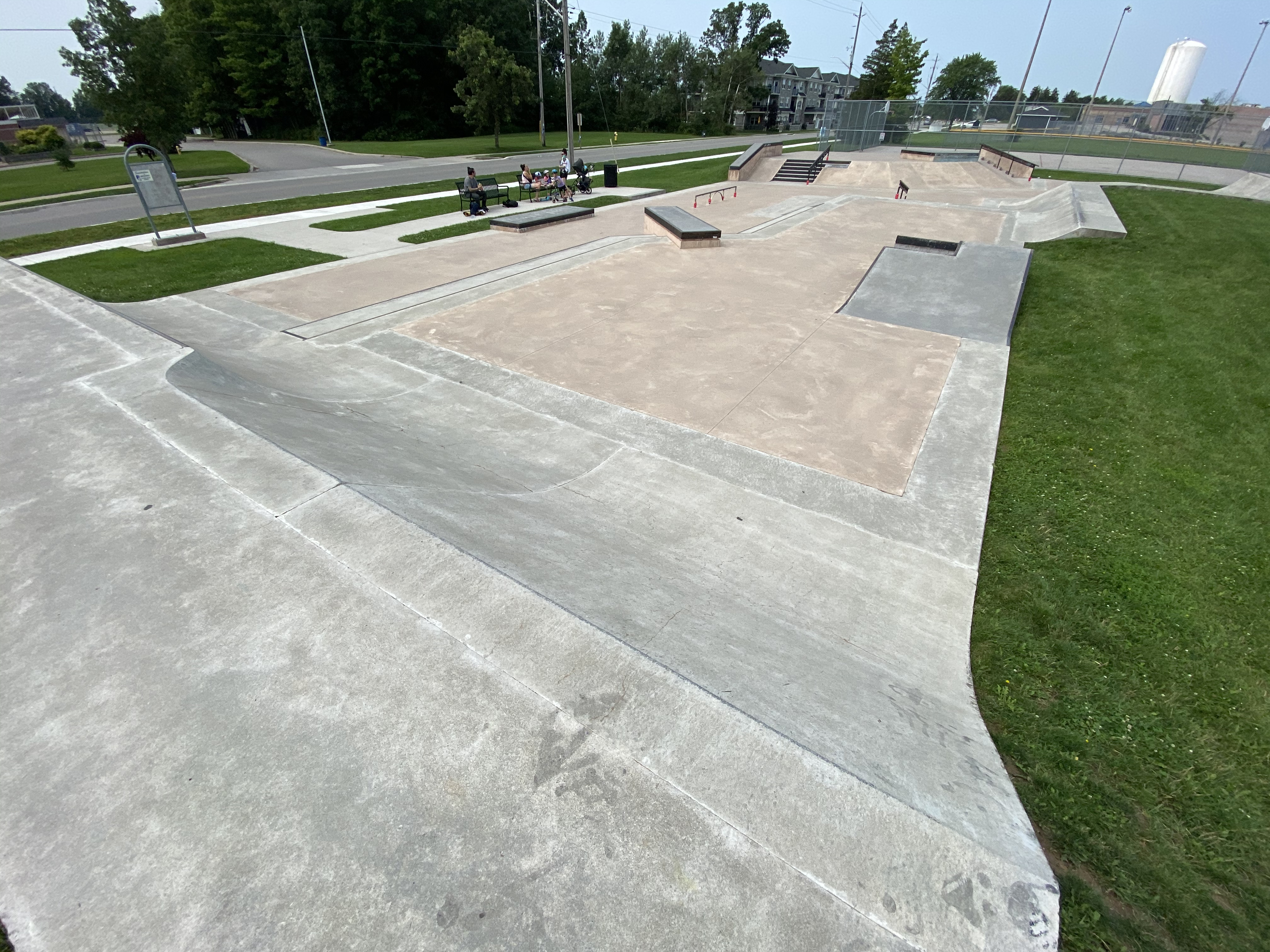 Caledonia Skatepark from the right side looking across the entire park