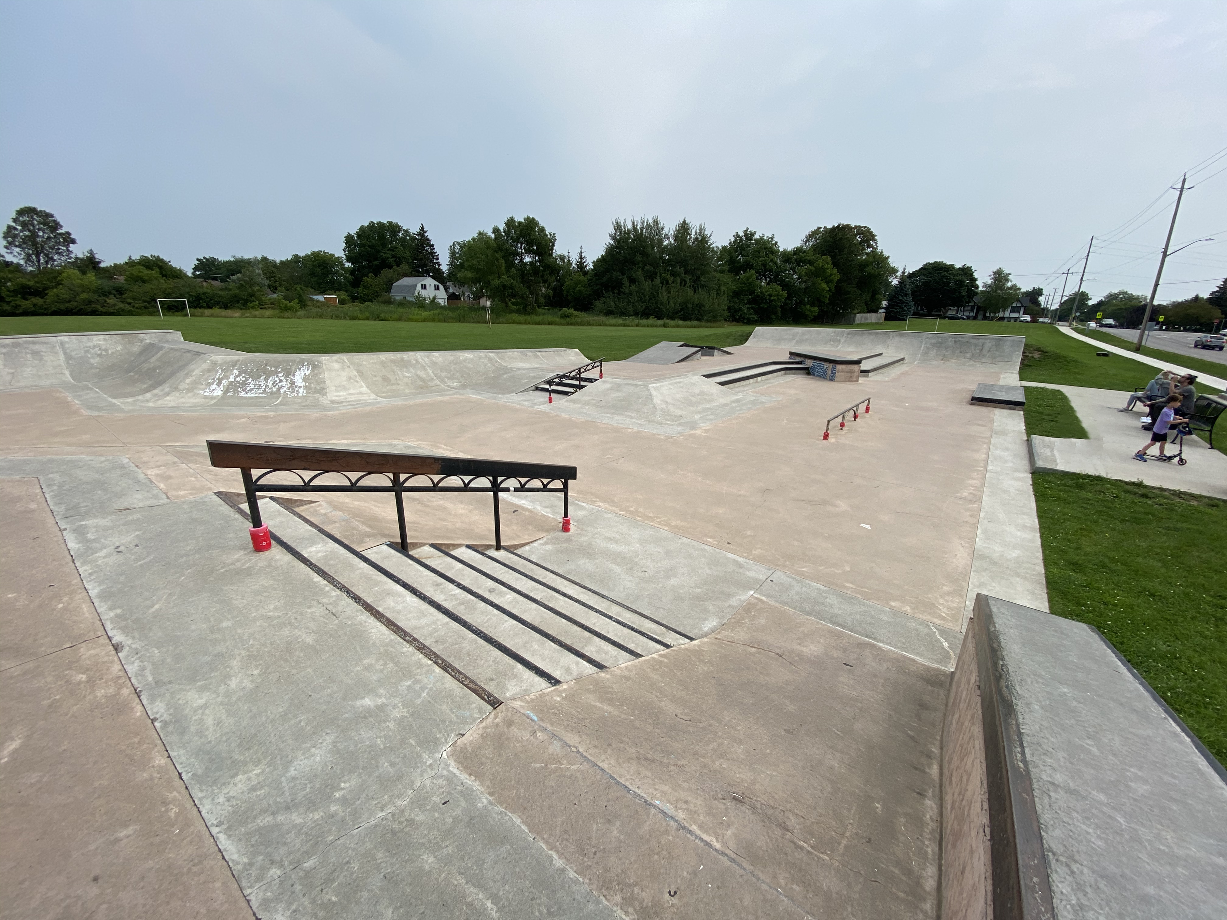 Caledonia Skatepark from the left side looking across