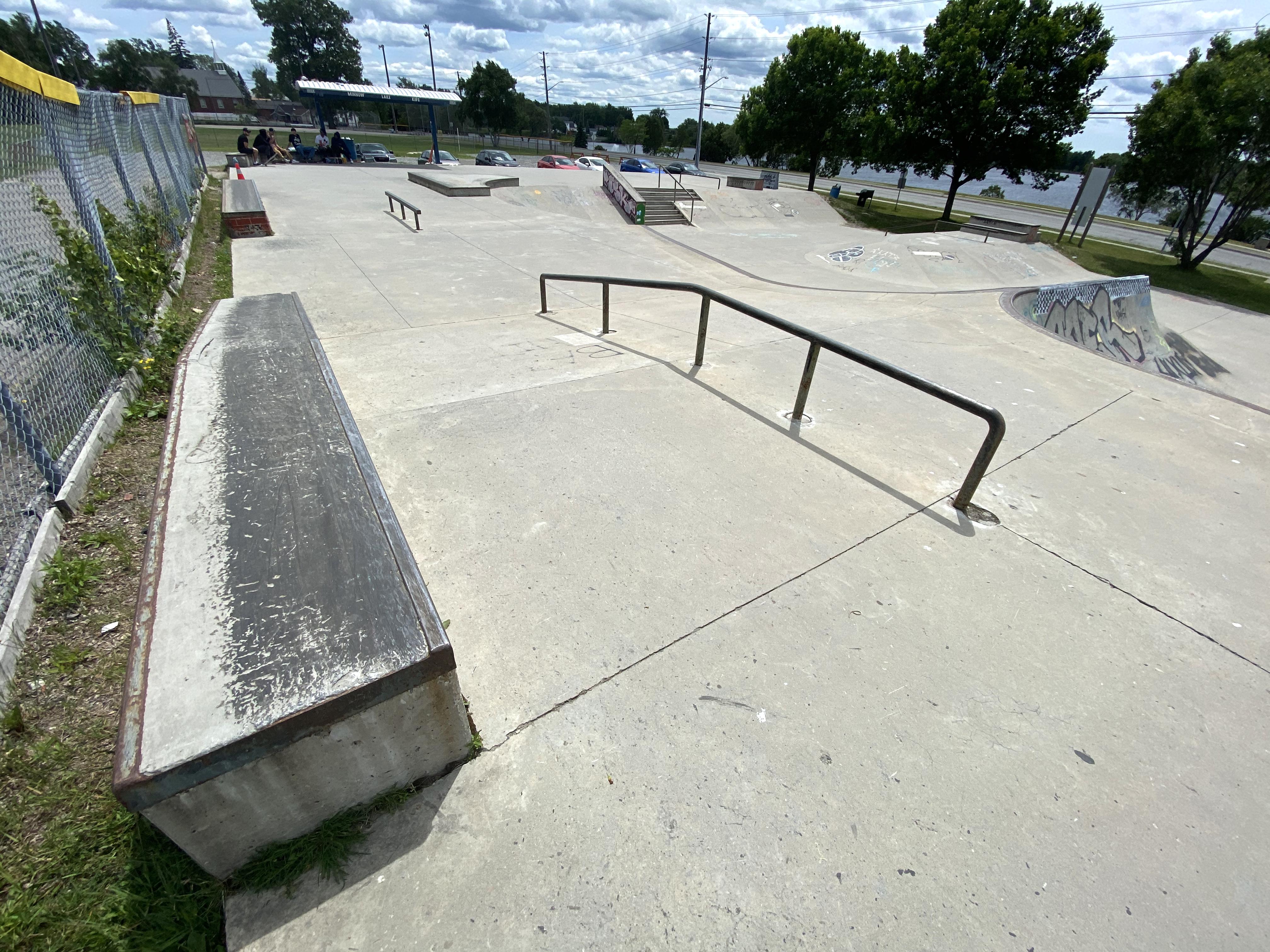 Sudbury Skatepark across and down rail and ledge